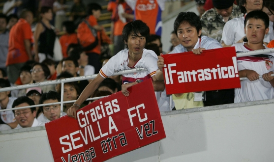 Sevilla fans in Japan during the tour in 2006