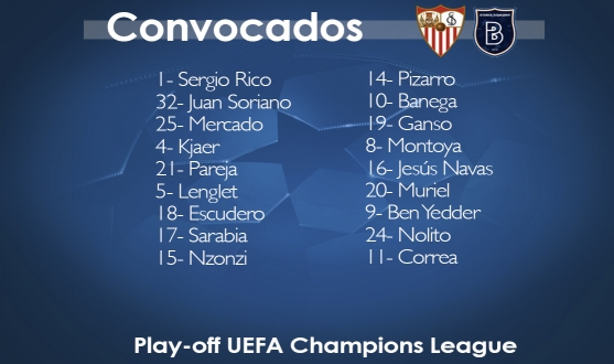 Squad list for champions league play off