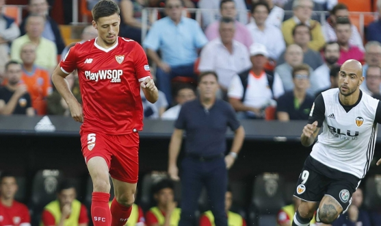 Lenglet of Sevilla FC against Valencia
