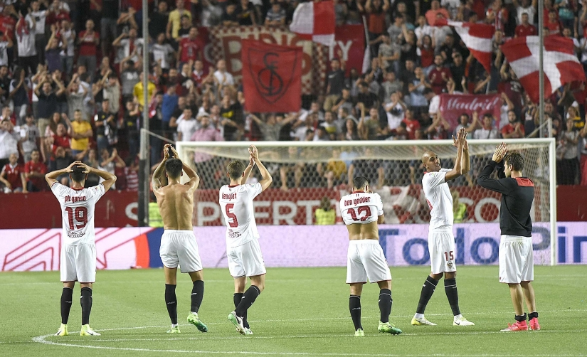 End of the match between Sevilla FC and Osasuna